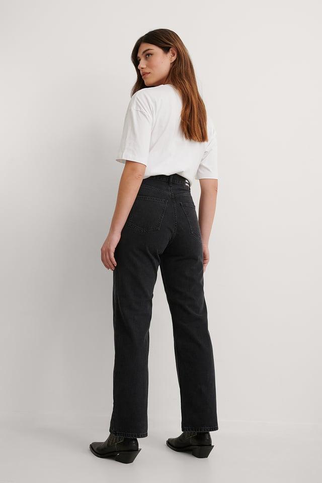 Concrete Black Rette Jeans Med Høyt Liv