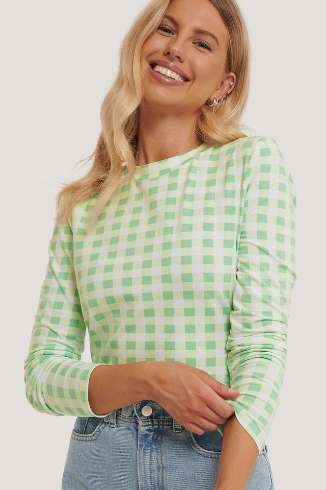 Checked Long Sleeve Top Check Pastel