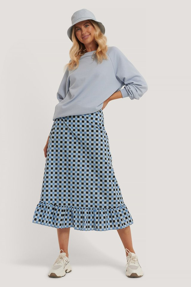 Checked Midi Skirt Blue Check