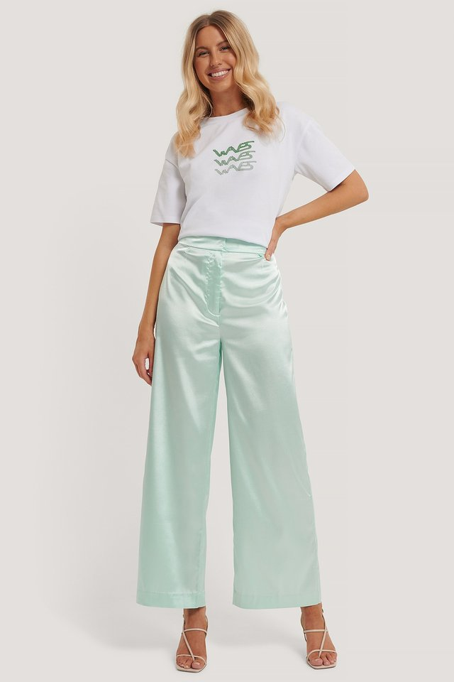Flowy Satin Pants Aqua Mint