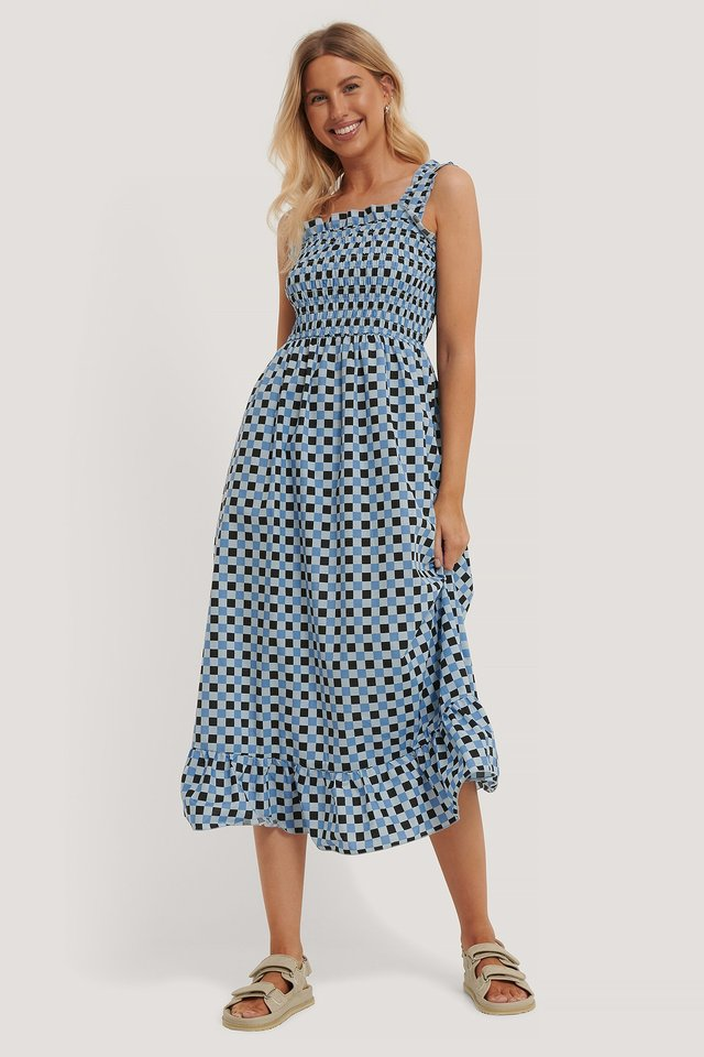 Smocked Midi Dress Blue Check