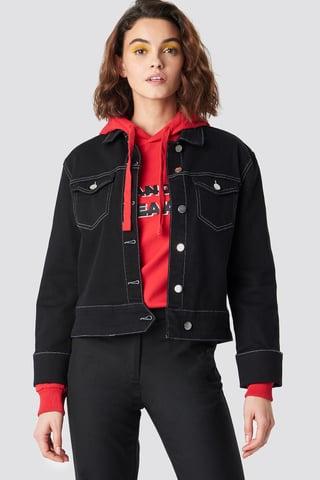 Black Cuffed Denim Jacket