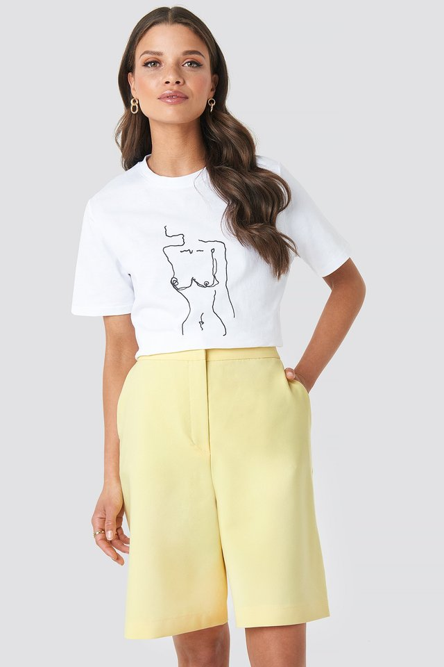 Yellow Mid Length Shorts