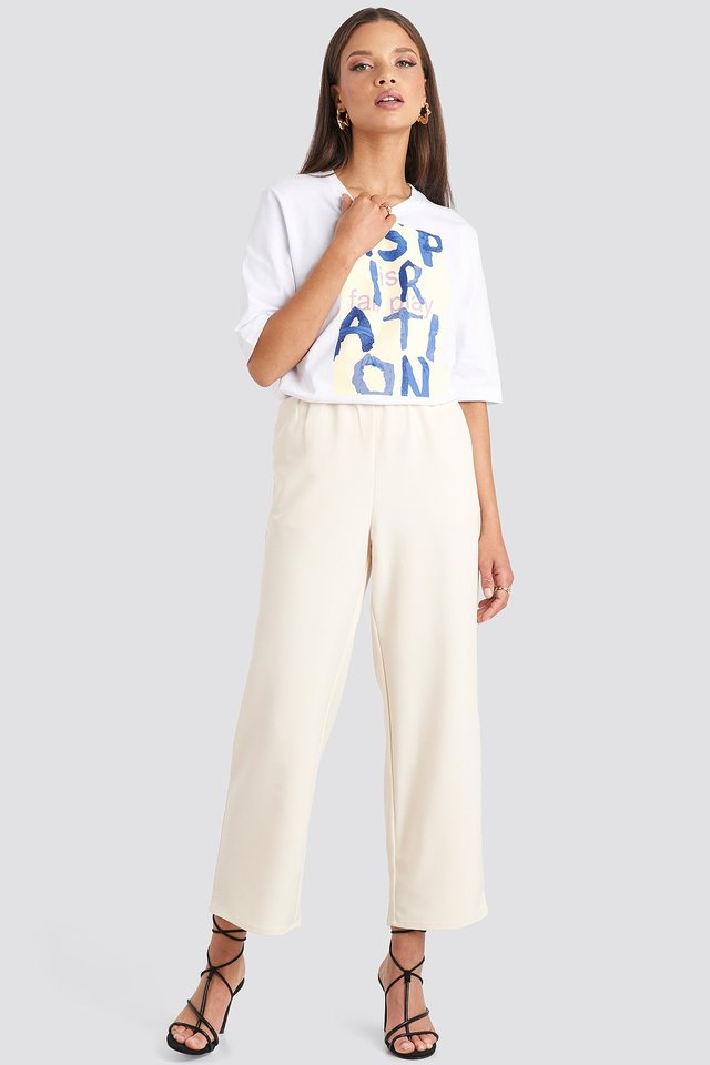 Elastic Waistseam Cropped Pants Off White
