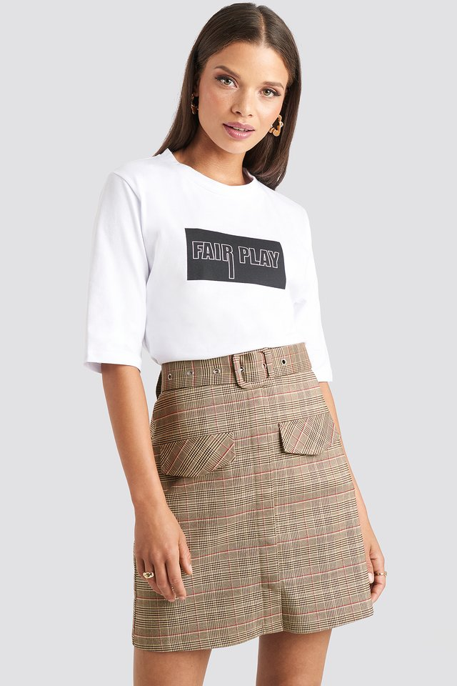 Checkered Front Pocket Checked Skirt