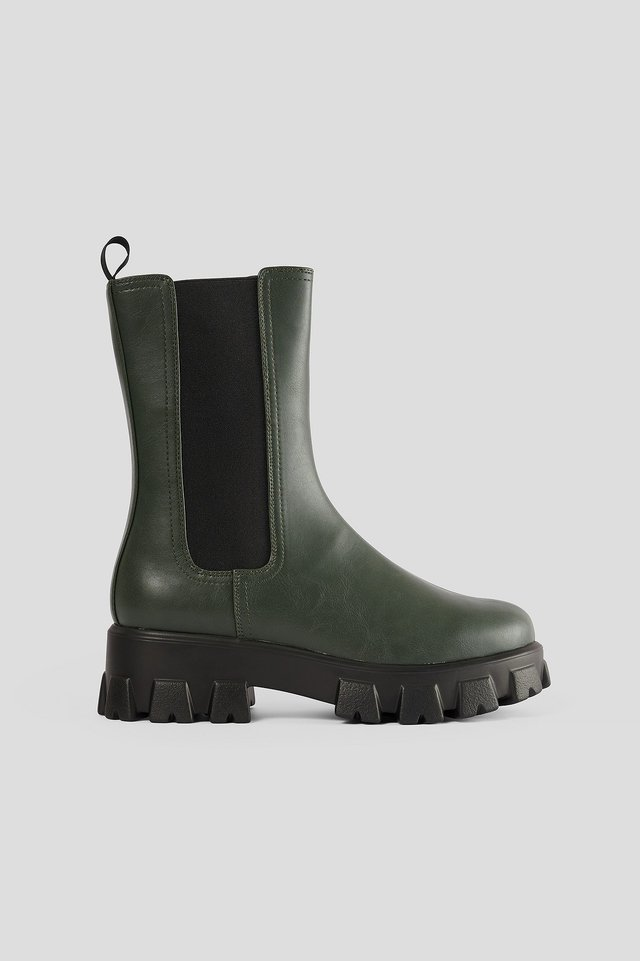 Chunky Sole Boots Dark Green