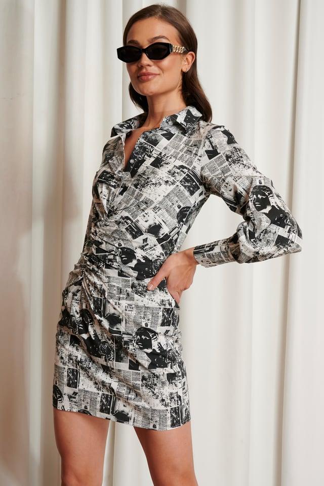 Pattern Print BW Draped Shirt Dress