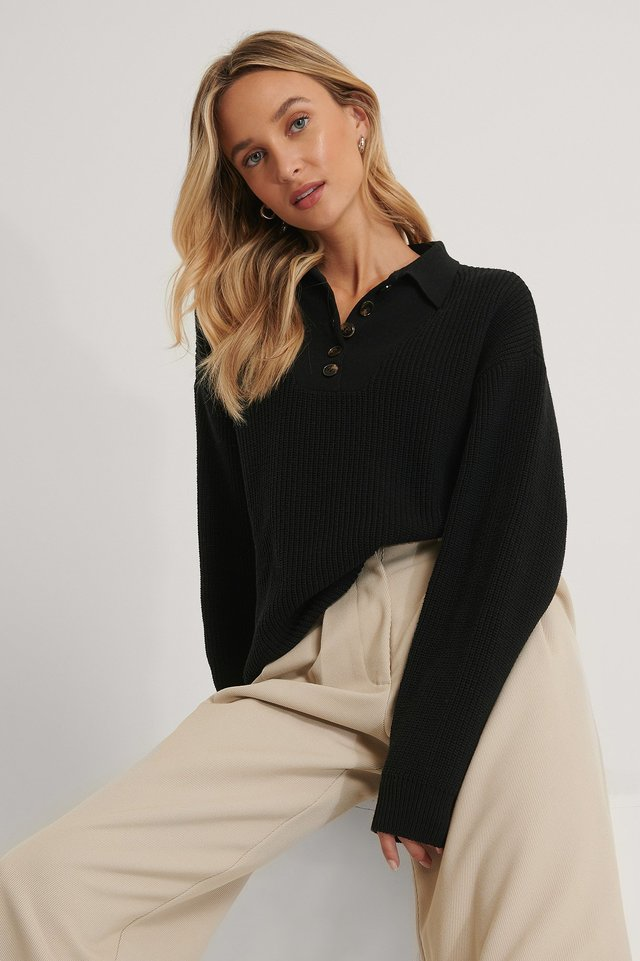 Button Detail Ribbed Knitted Top Black