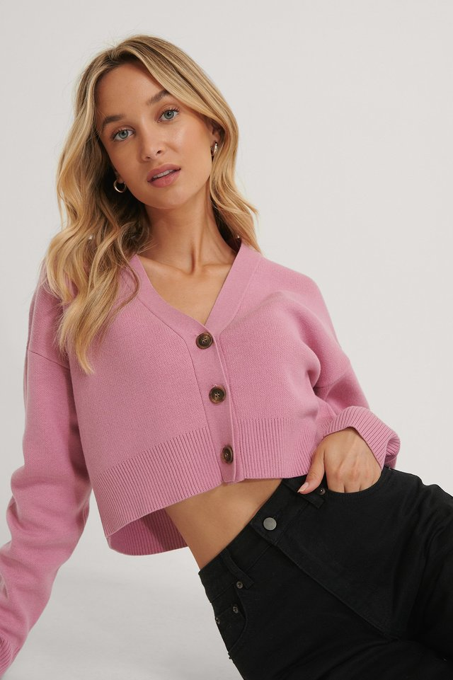 Pink Cropped Oversized Cardigan
