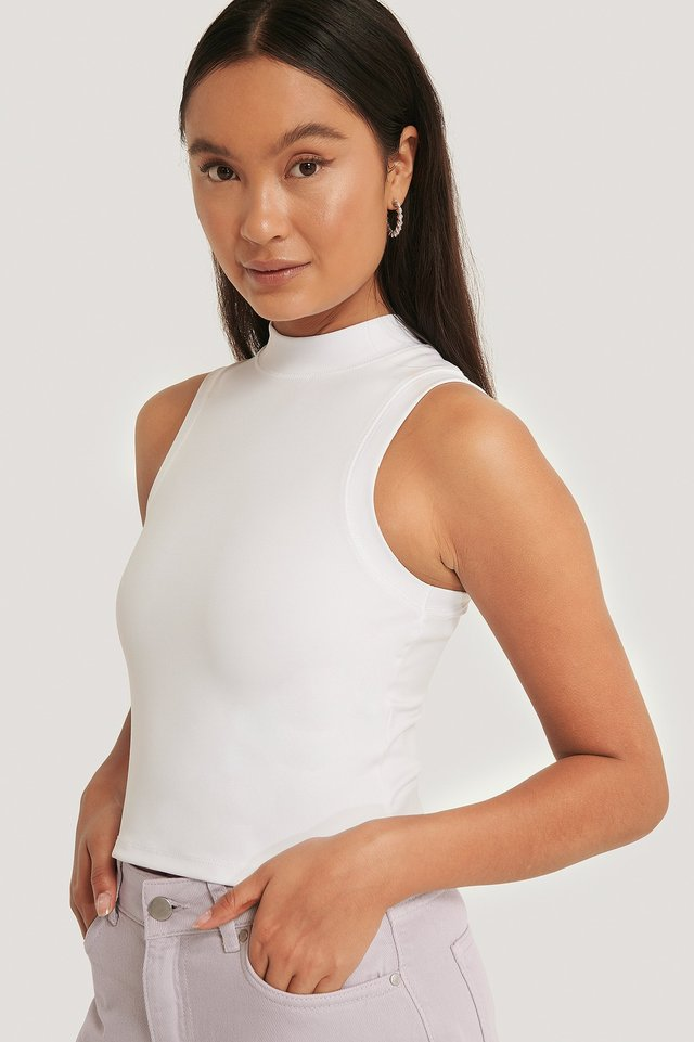 High Neck Cropped Singlet White