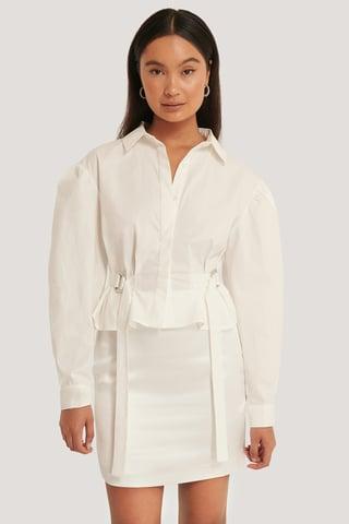 White Oversize Skjorta Med Markerad Midja