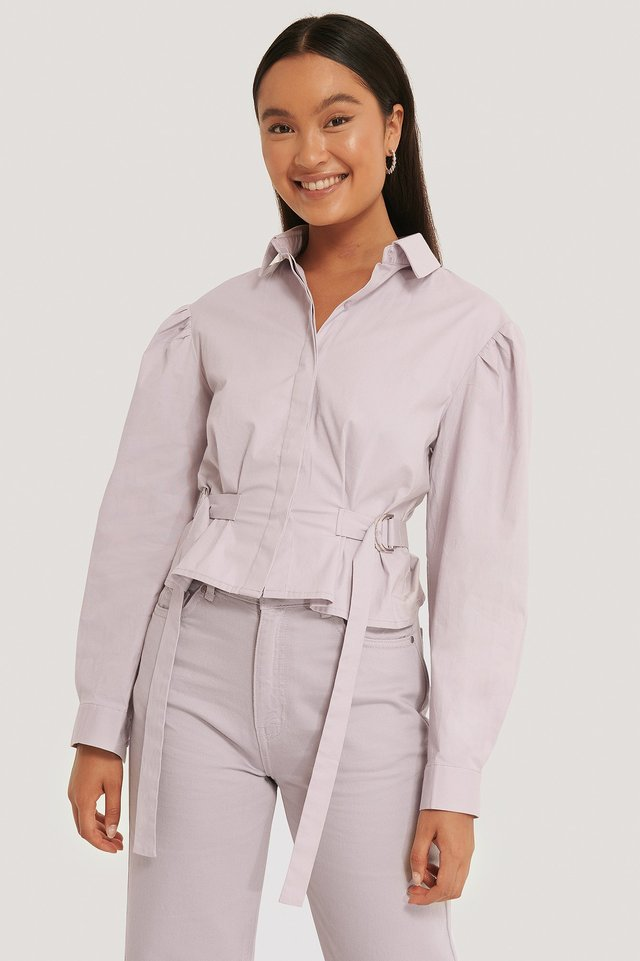 Oversize-Oberteil Mit Markanter Taille Dusty Lilac
