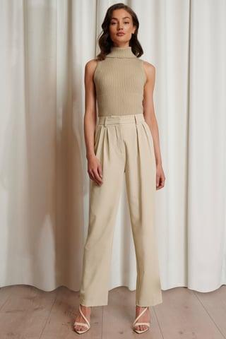 Beige Oversized Suit Pants