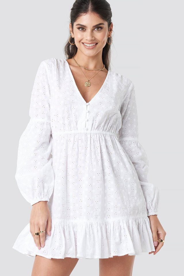 Anglaise Balloon Sleeve Dress White