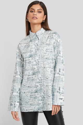 Green Print Oversized Printed Cotton Pocket Shirt
