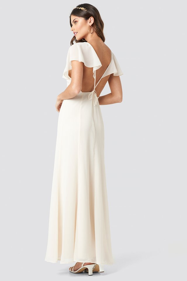 Back Detail Maxi Dress Light Beige