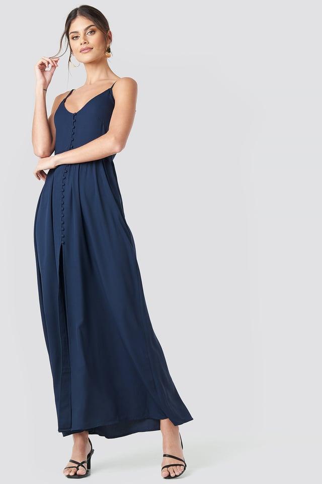 Button Up V-Neck Dress Dark Blue