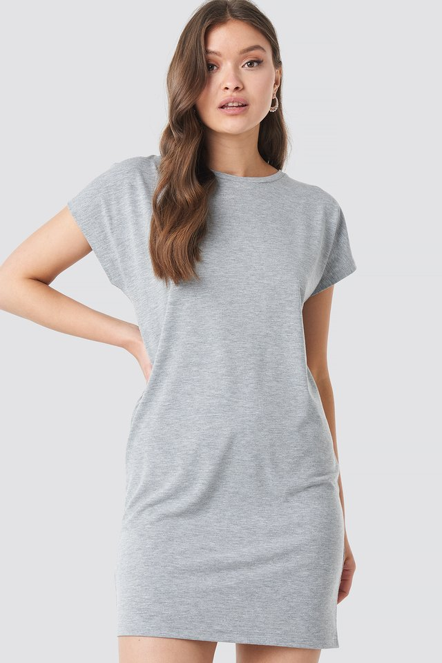 Cap Sleeve Viscose Dress Grey Melange