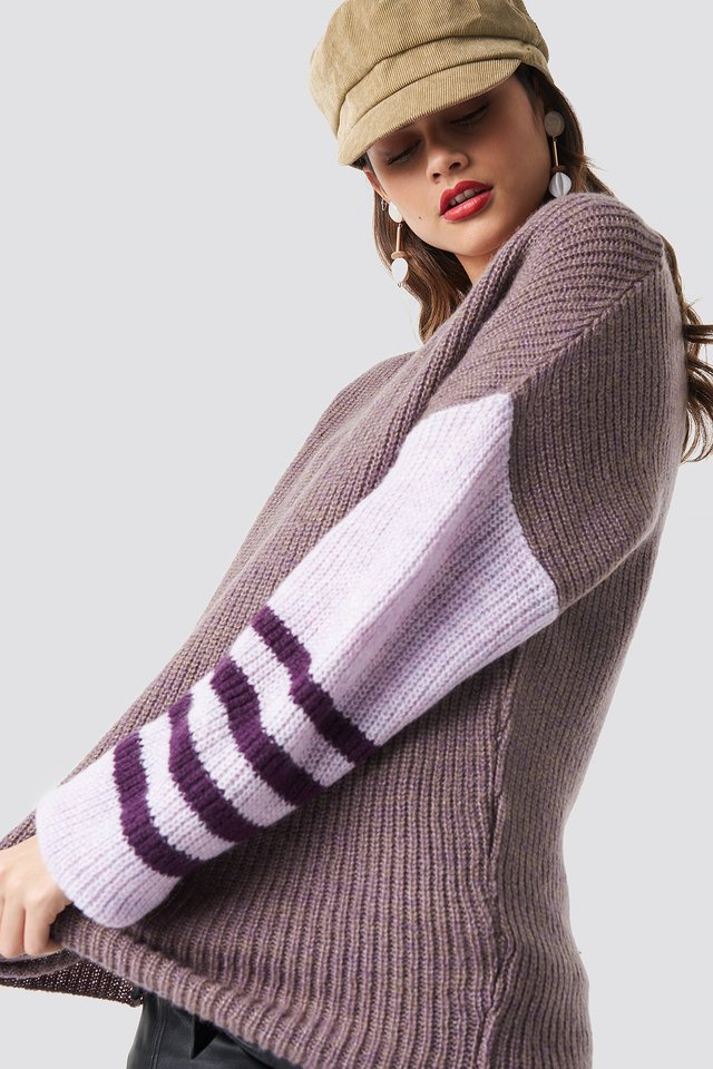 Color Striped Sleeve Detail Knitted Sweater Lilac