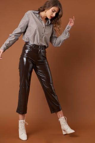 Dark Brown Cropped Patent Pants