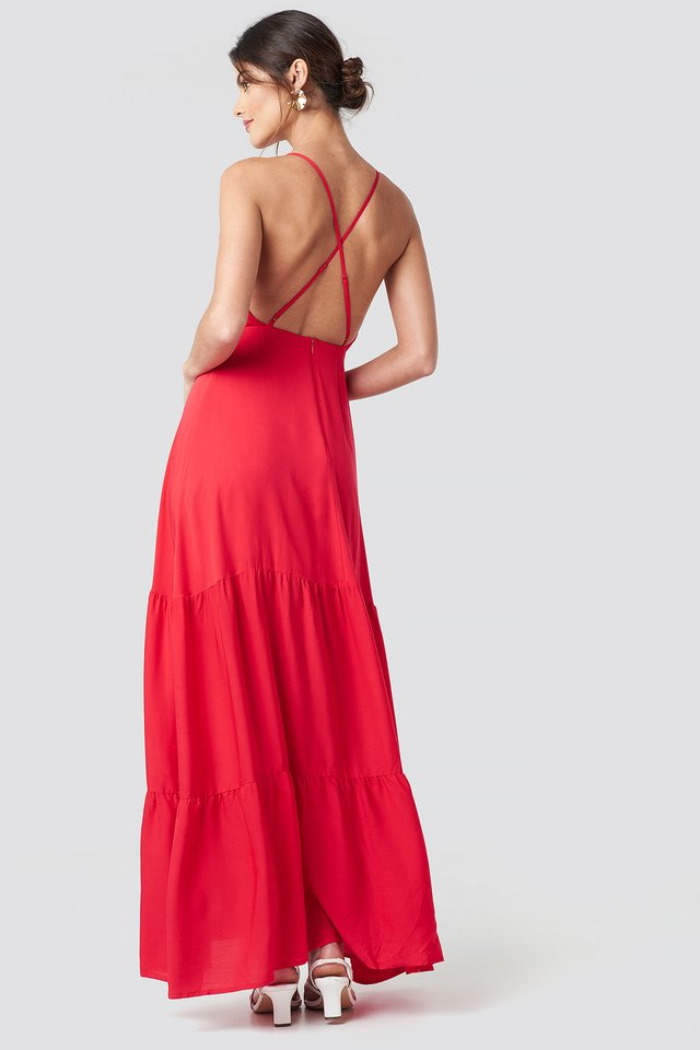 Cross Back Flowy Maxi Dress Red