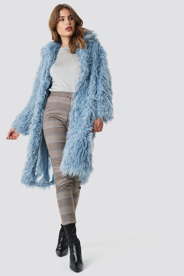 Faux Fur Long Jacket Cloud