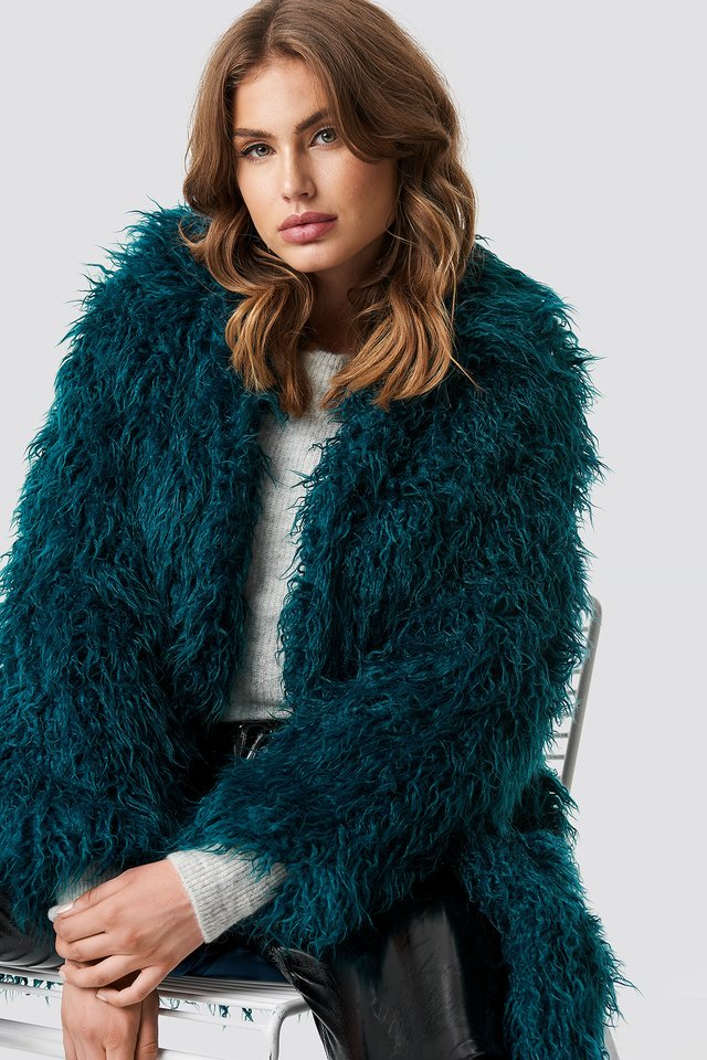 Faux Fur Long Jacket Petrol