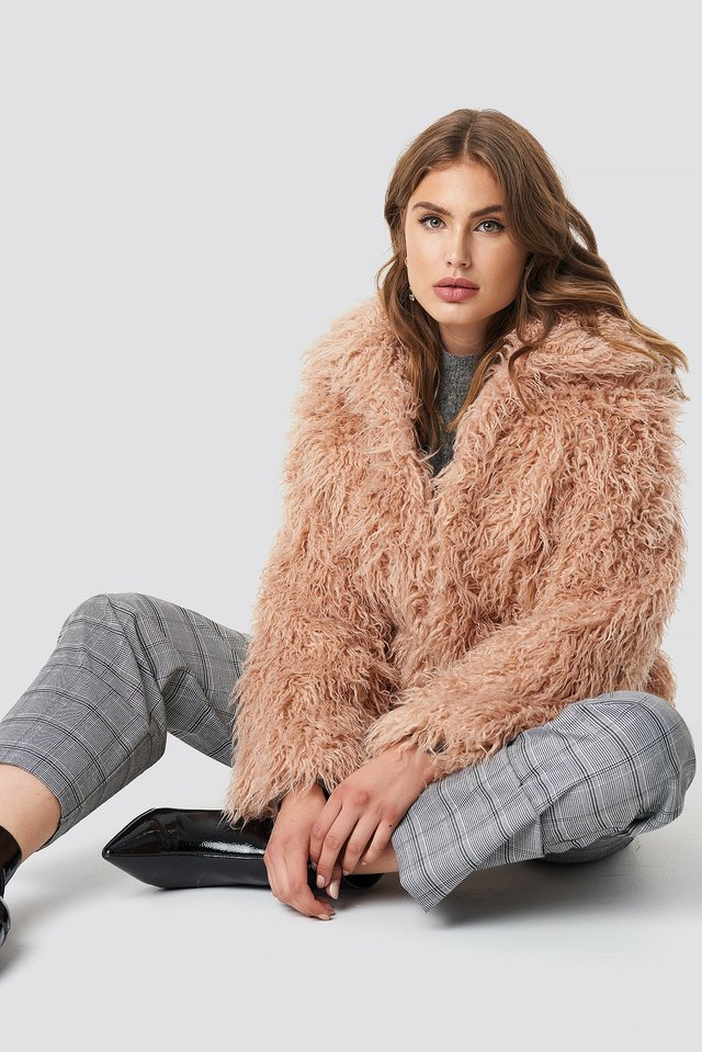 Faux Fur Short Jacket Pink