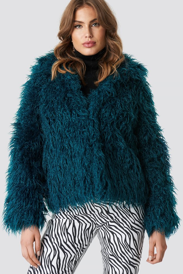 Faux Fur Short Jacket Petrol