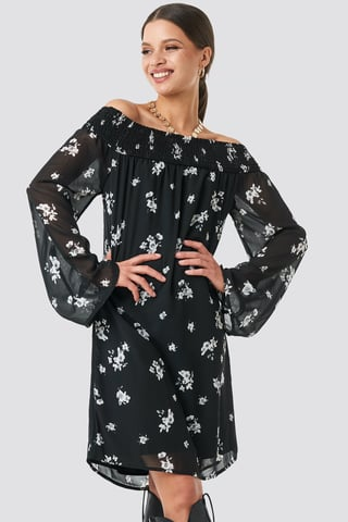 Black/White Flower Print Floral Printed Off shoulder Dress
