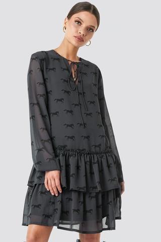Black Giddy Up Printed Short Dress