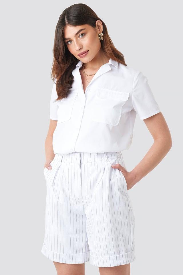 High Waist Striped Shorts Black/White Stripe
