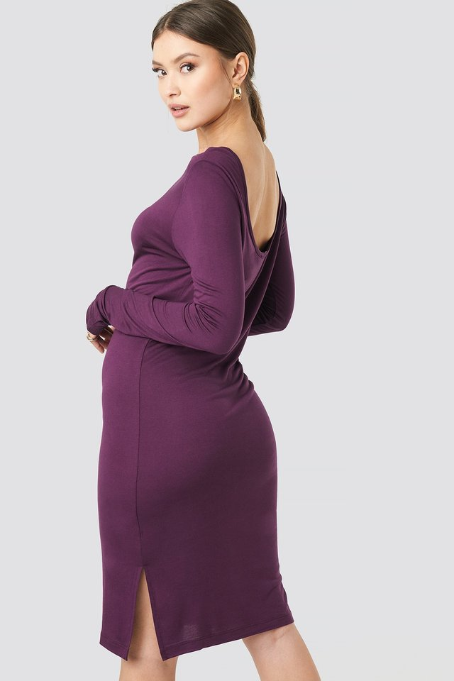 Viscose Deep Back Dress Bordeaux