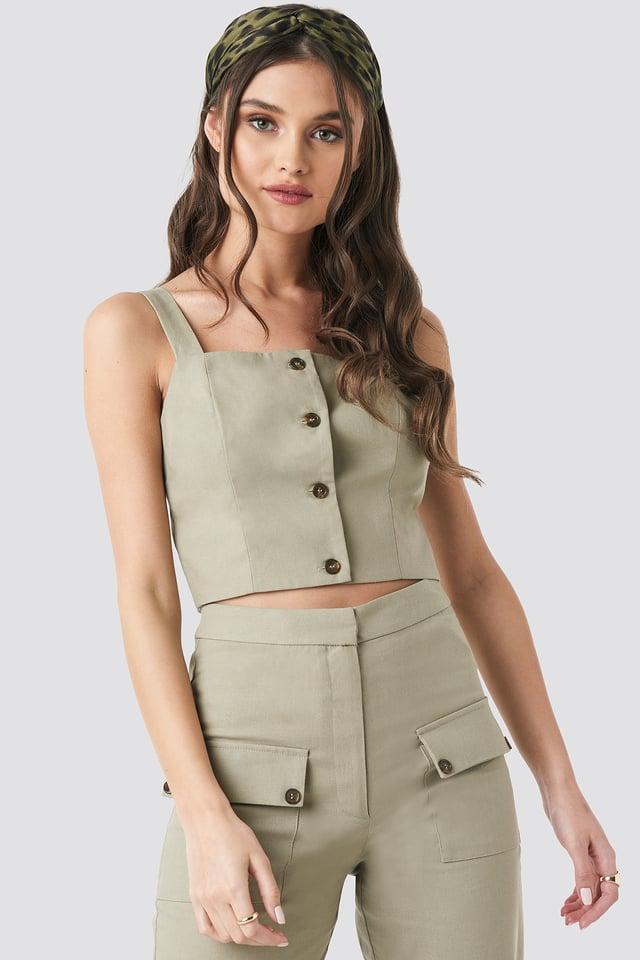 Linen Look Button Up Top Beige