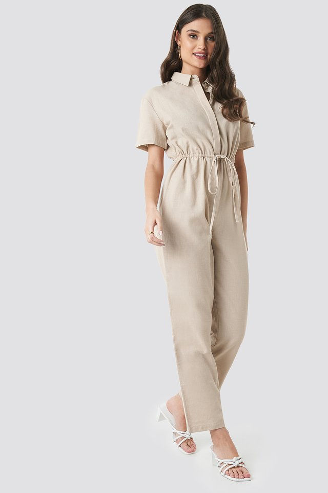 Linen Look Drawstring Shirt Jumpsuit Beige