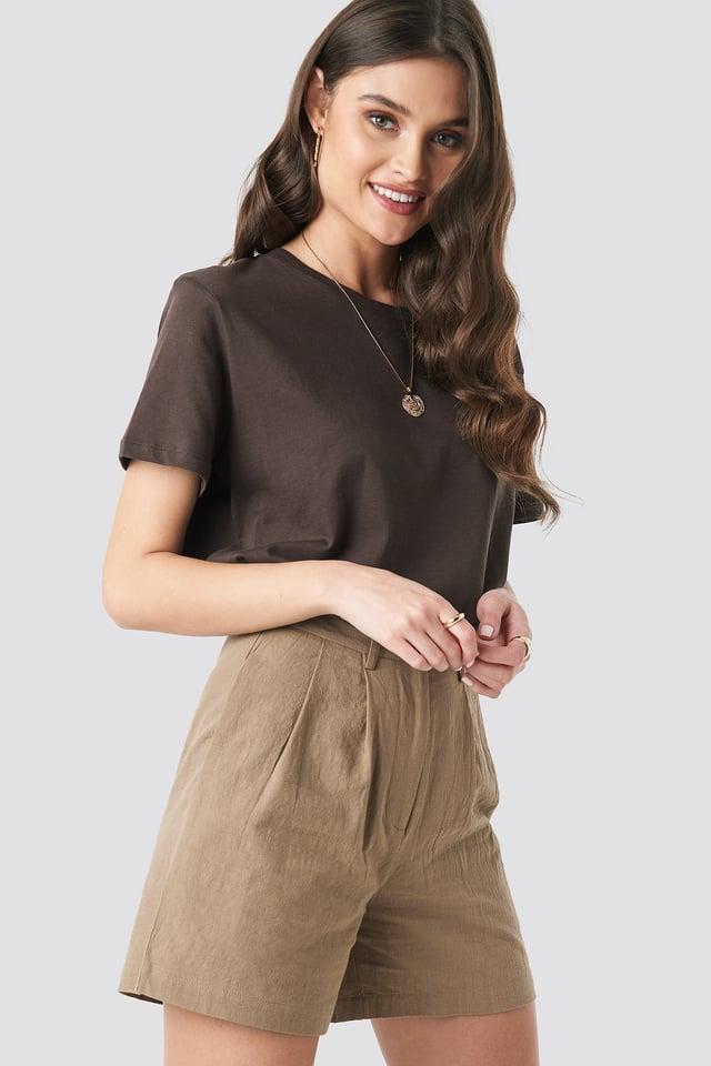 Linen Look Oversized Shorts Beige