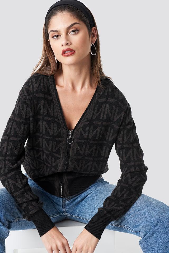 N Branded Knitted Cardigan Black/Grey