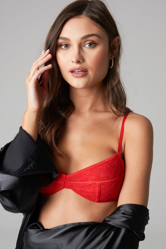 Thin Strap Flower Lace Bra Red