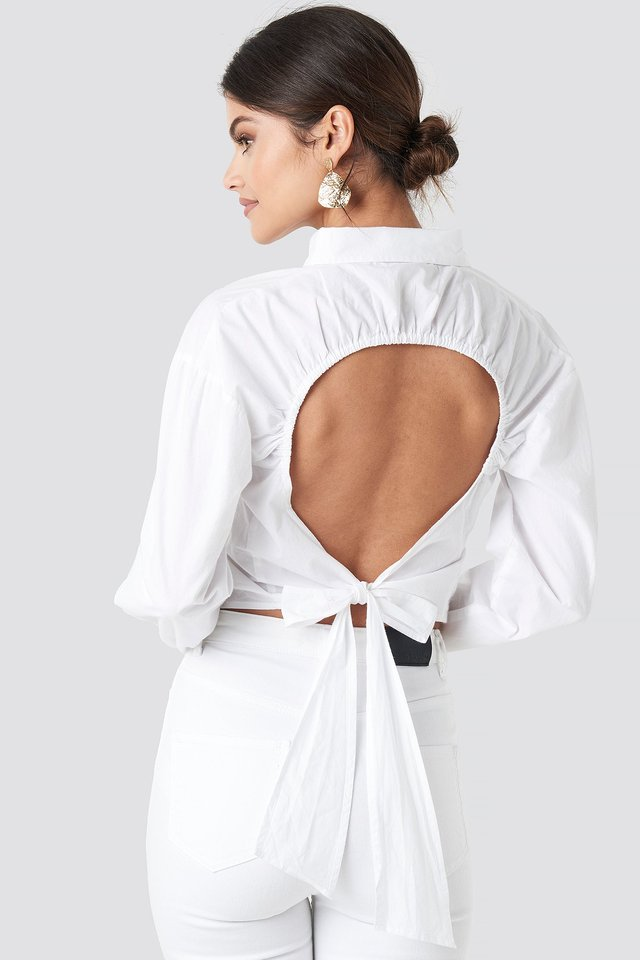 Open Tie Back Blouse White