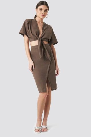 Brown Overlap Linen Look Skirt