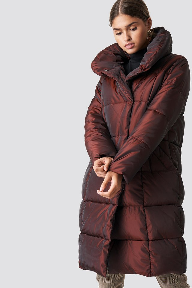 Shawl Collar Shiny Padded Jacket Burgundy