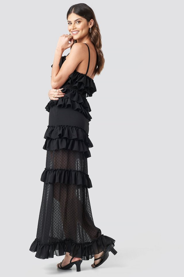 Sheer Ruffle Detail Maxi Dress Black
