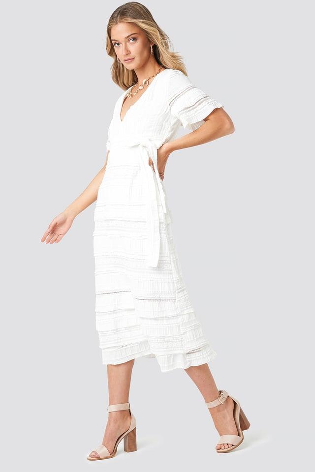 Short Sleeve V-Neck Lace Dress White
