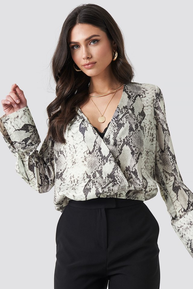 Snake Printed Overlap Blouse Grey