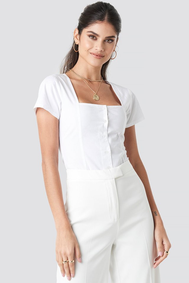 Square Neckline Buttoned Top White