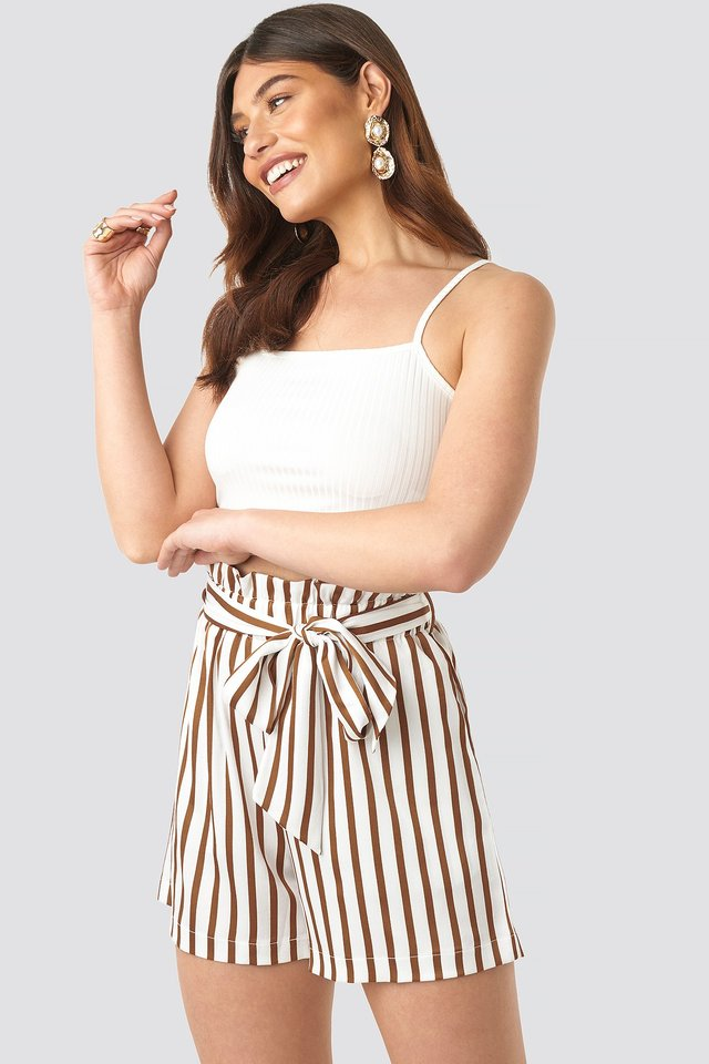 Striped Paperwaist Shorts White/Brown Stripe