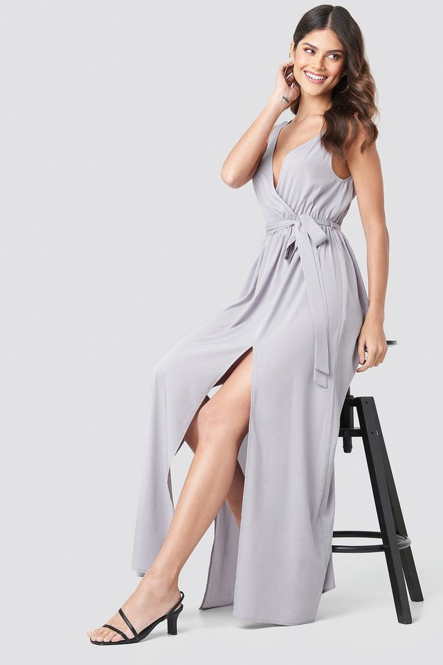 Tie Waist Slit Maxi Dress Dusty Lavender