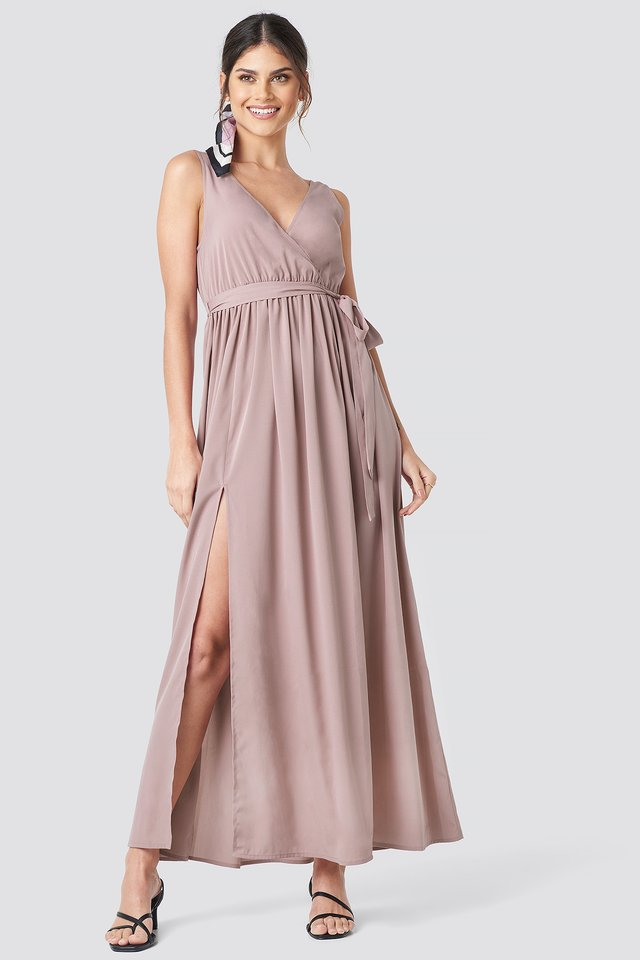 Tie Waist Slit Maxi Dress Dusty Pink