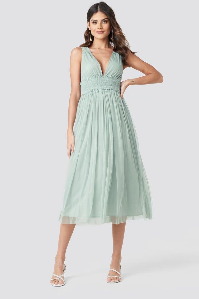 V-neck Tulle Midi Dress Dusty Green