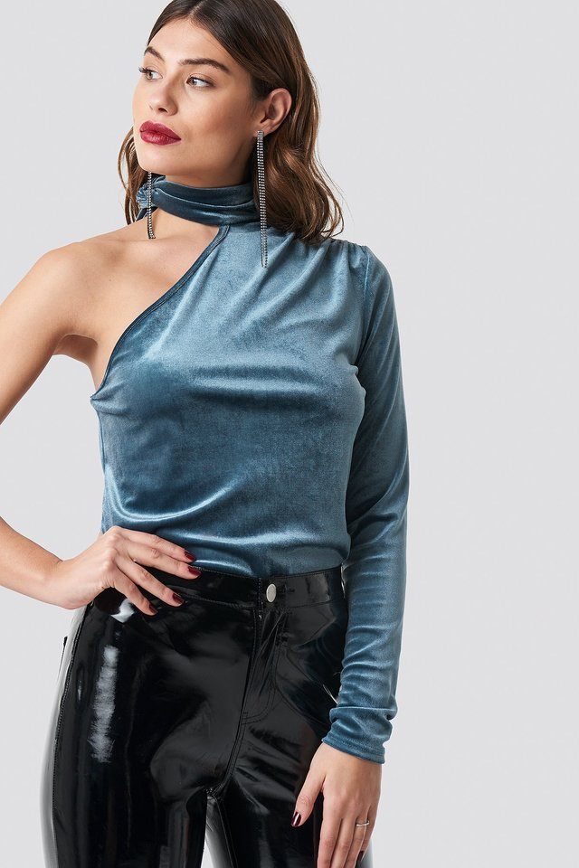 Velvet One Shoulder Top Dusty Blue